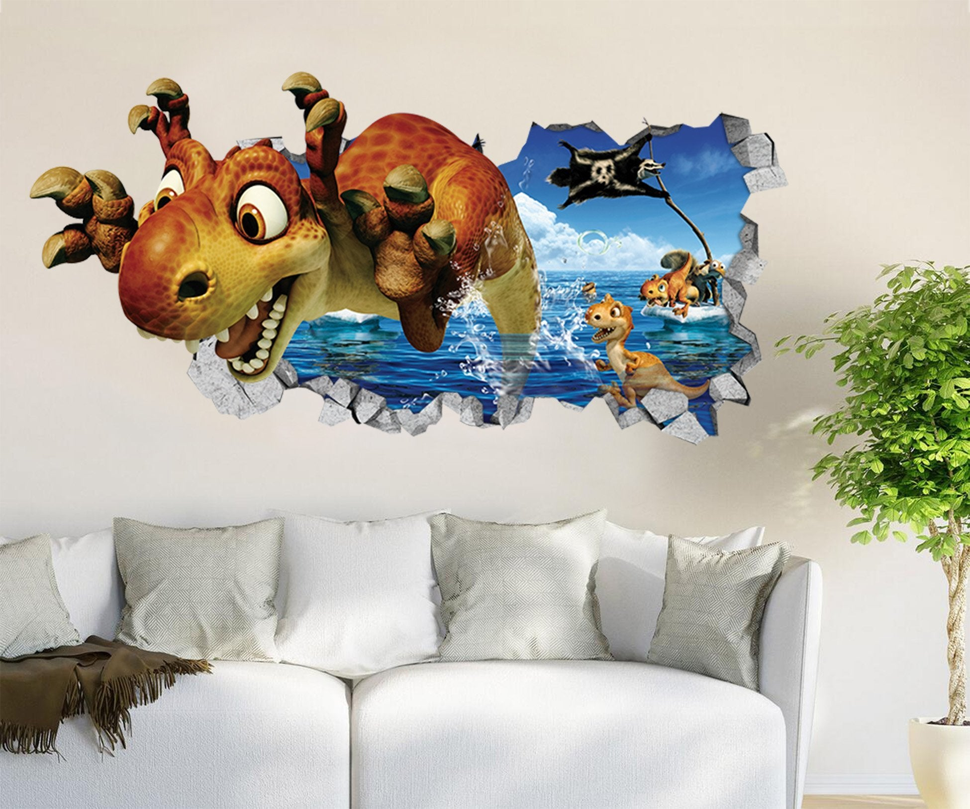 3d Sea Lovely Dinosaurs 44 Broken Wall Murals Aj Wallpaper