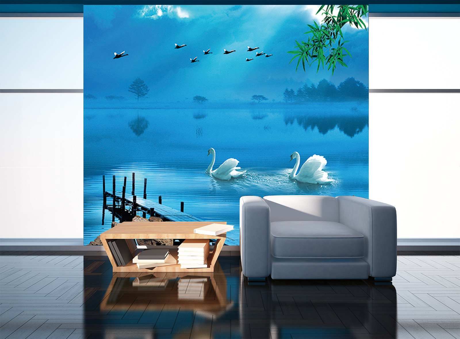 3D Blue Swan Lake 576 Wallpaper AJ Wallpaper