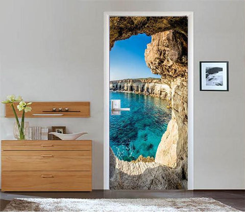 3D bridge cave clear water door mural Wallpaper AJ Wallpaper