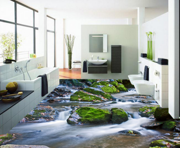 3D Moss Stone 254 Floor Mural Wallpaper AJ Wallpaper 2