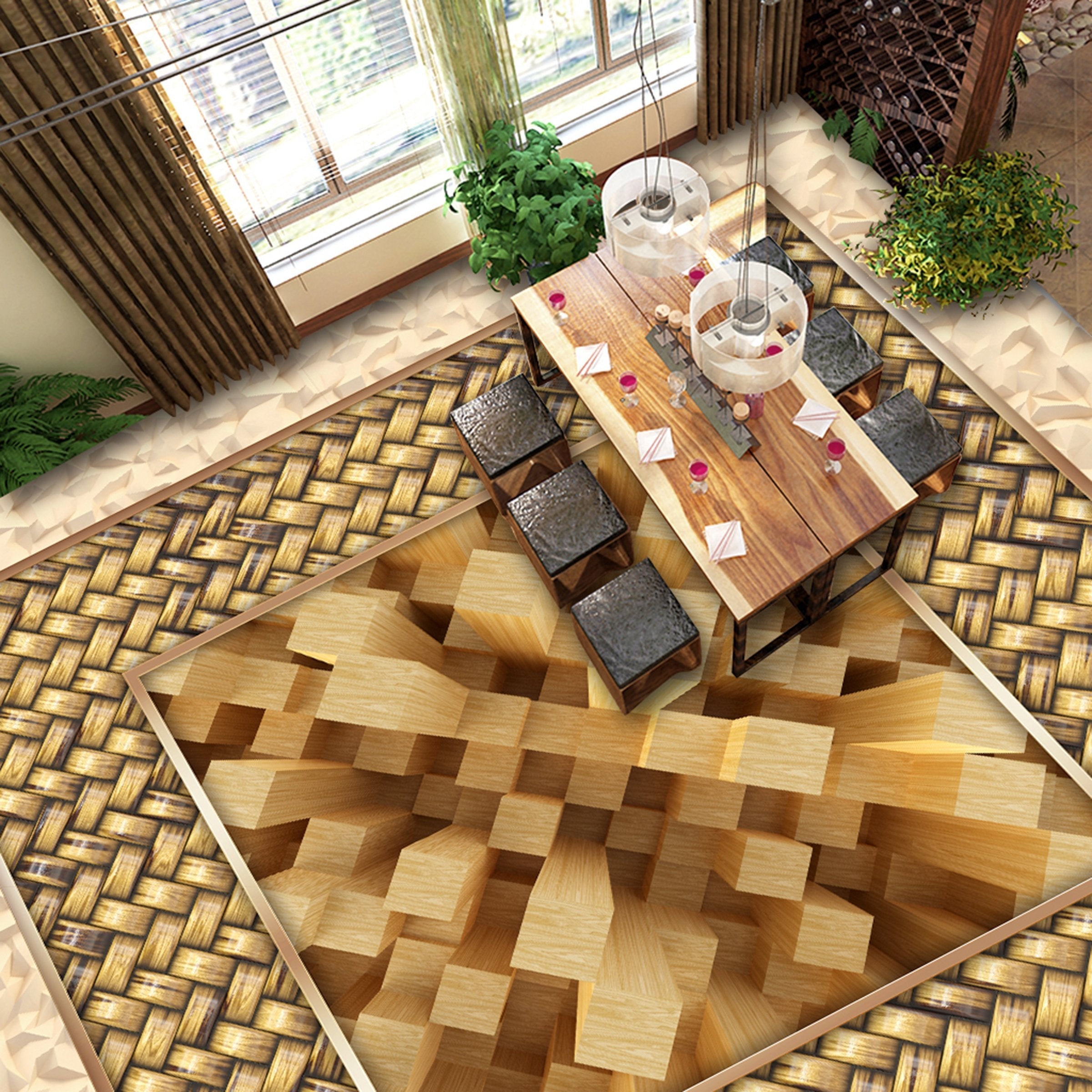 3D Yellow Wood WG142 Floor Mural