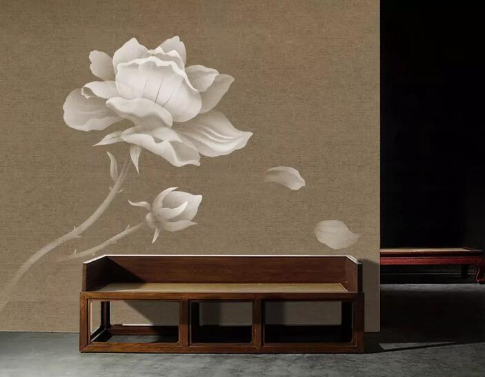 3D White Lotus 088 Wall Murals