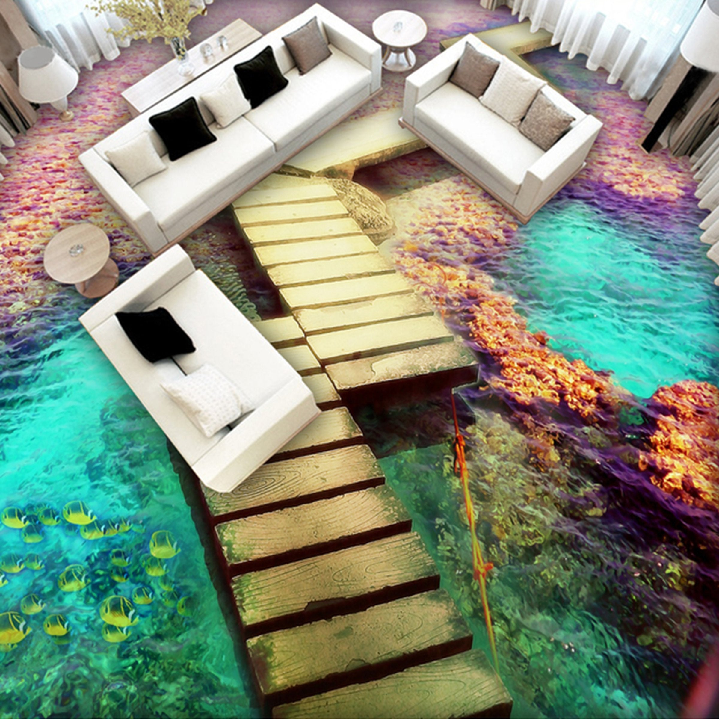 3D Ocean Wooden Bridge WG035 Floor Mural