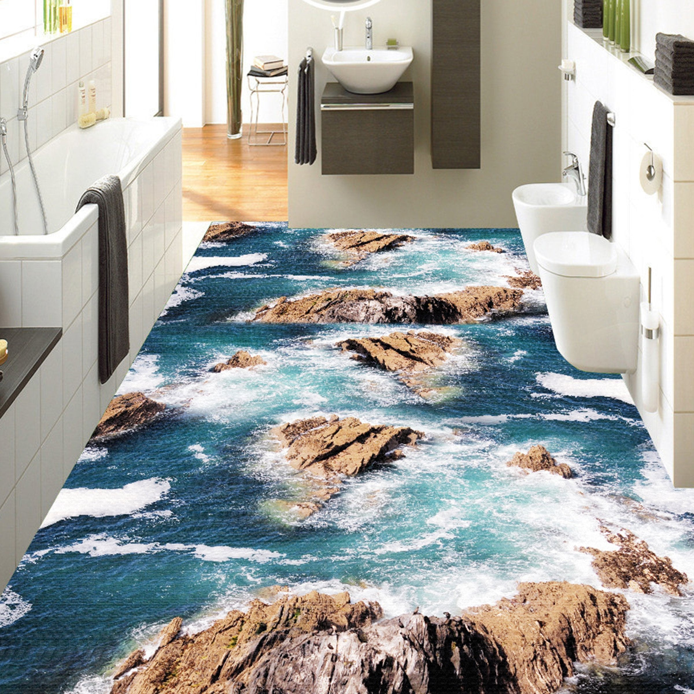 3D Blue Sea Water WG062 Floor Mural