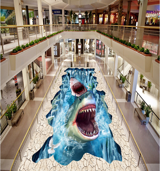 3D Sharks Floor Mural Wallpaper AJ Wallpaper 2