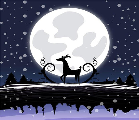 3D Christmas Bright Moon Reindeer 55 Wallpaper AJ Wallpapers