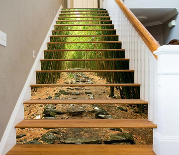 3D Bamboo Forest 713 Stair Risers Wallpaper AJ Wallpaper