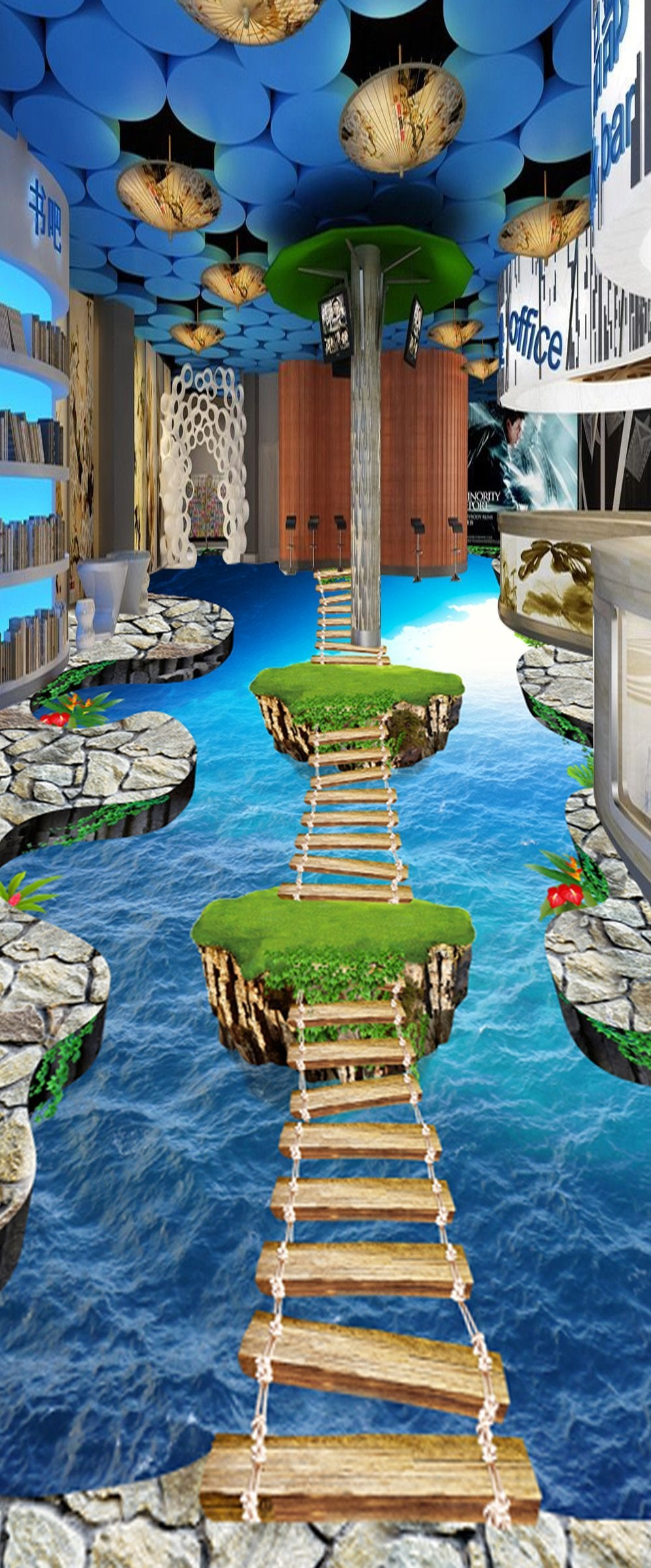 3D Wooden Bridge WG067 Floor Mural