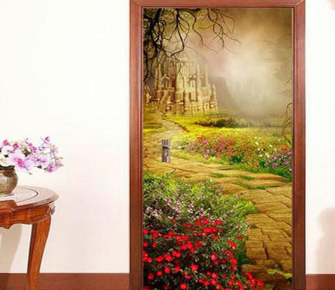 3D castle in the forest door mural Wallpaper AJ Wallpaper