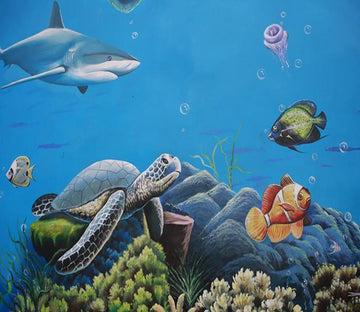 3D Seabed Turtle Fish 92 Wallpaper AJ Wallpaper