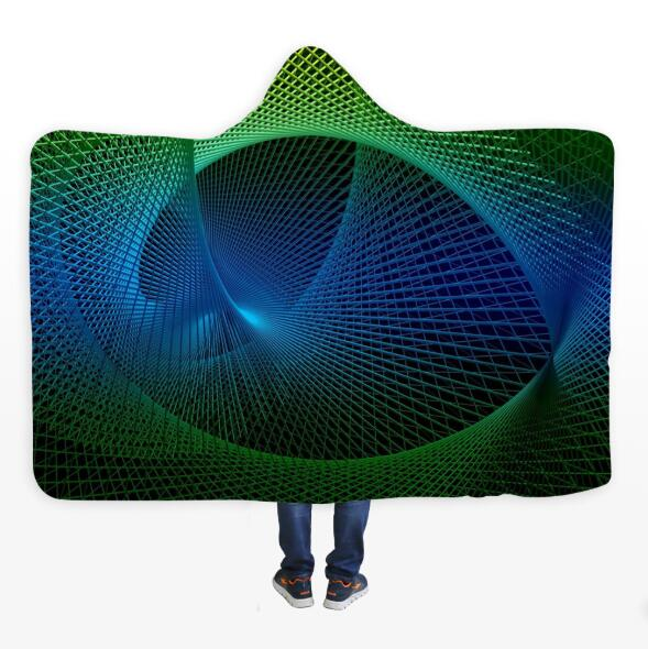 3D Green Space Line 070 Hooded Blanket