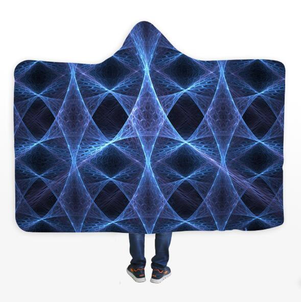 3D Blue Star Line 073 Hooded Blanket