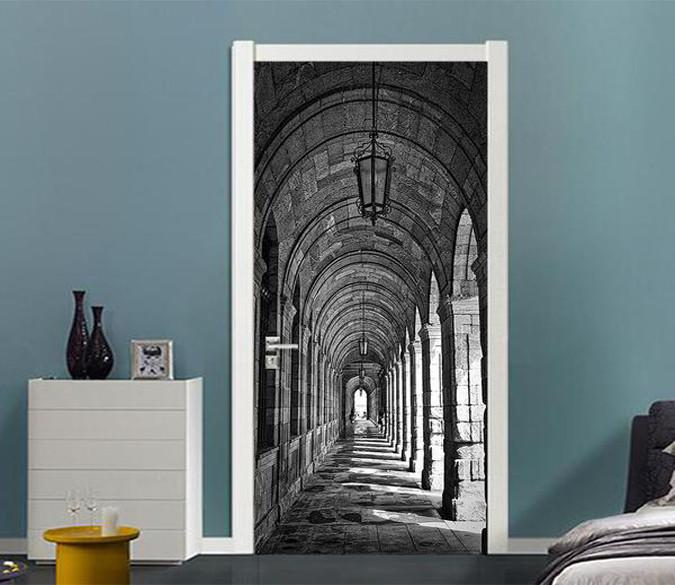 3D corridor stone dome door mural Wallpaper AJ Wallpaper