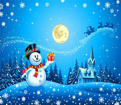 3D Christmas Eve Snowman Moon 239 Wallpaper AJ Wallpaper