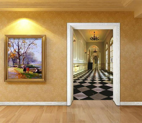 3D corridor lattice tile door mural Wallpaper AJ Wallpaper