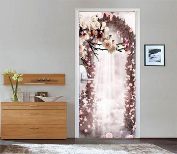 3D beautiful flowers arch 45 door mural Wallpaper AJ Wallpaper