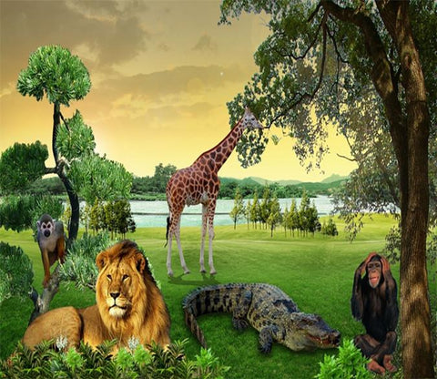 3D Lion Giraffe Forest 362 Wallpaper AJ Wallpaper