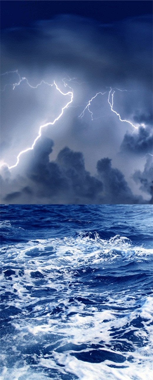 3D thunder night door sea mural Wallpaper AJ Wallpaper