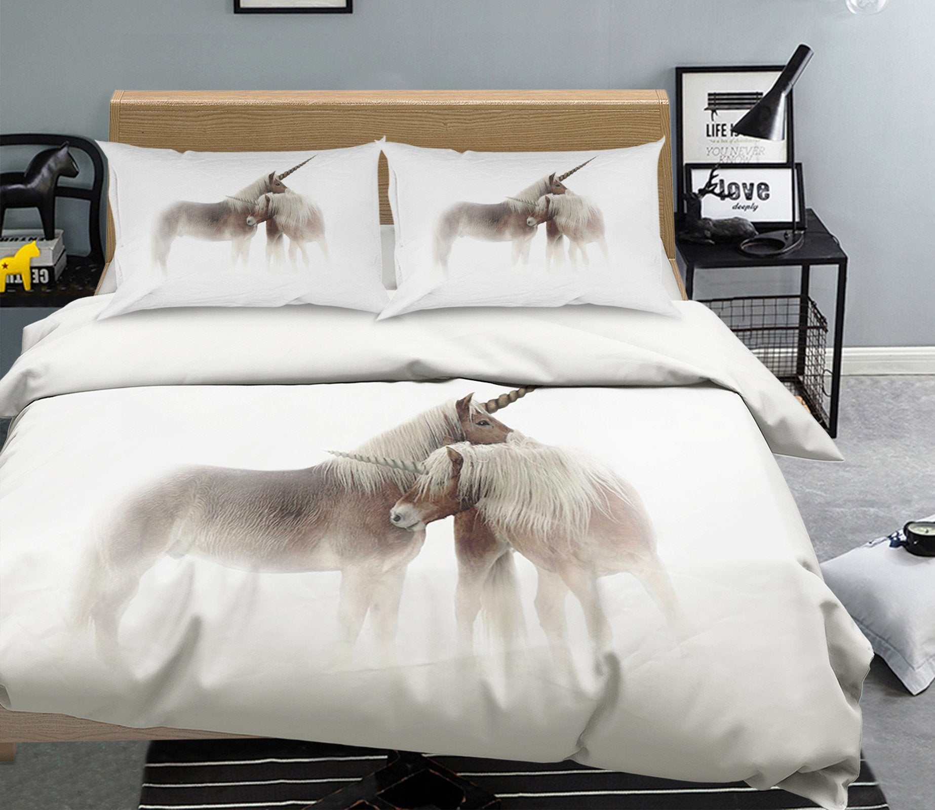 3D Embrace Unicorn 055 Bed Pillowcases Quilt Wallpaper AJ Wallpaper