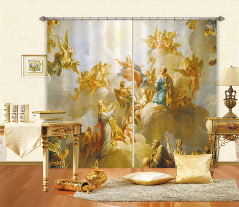 3D White Clouds Cowd 042 Curtains Drapes Curtains AJ Creativity Home