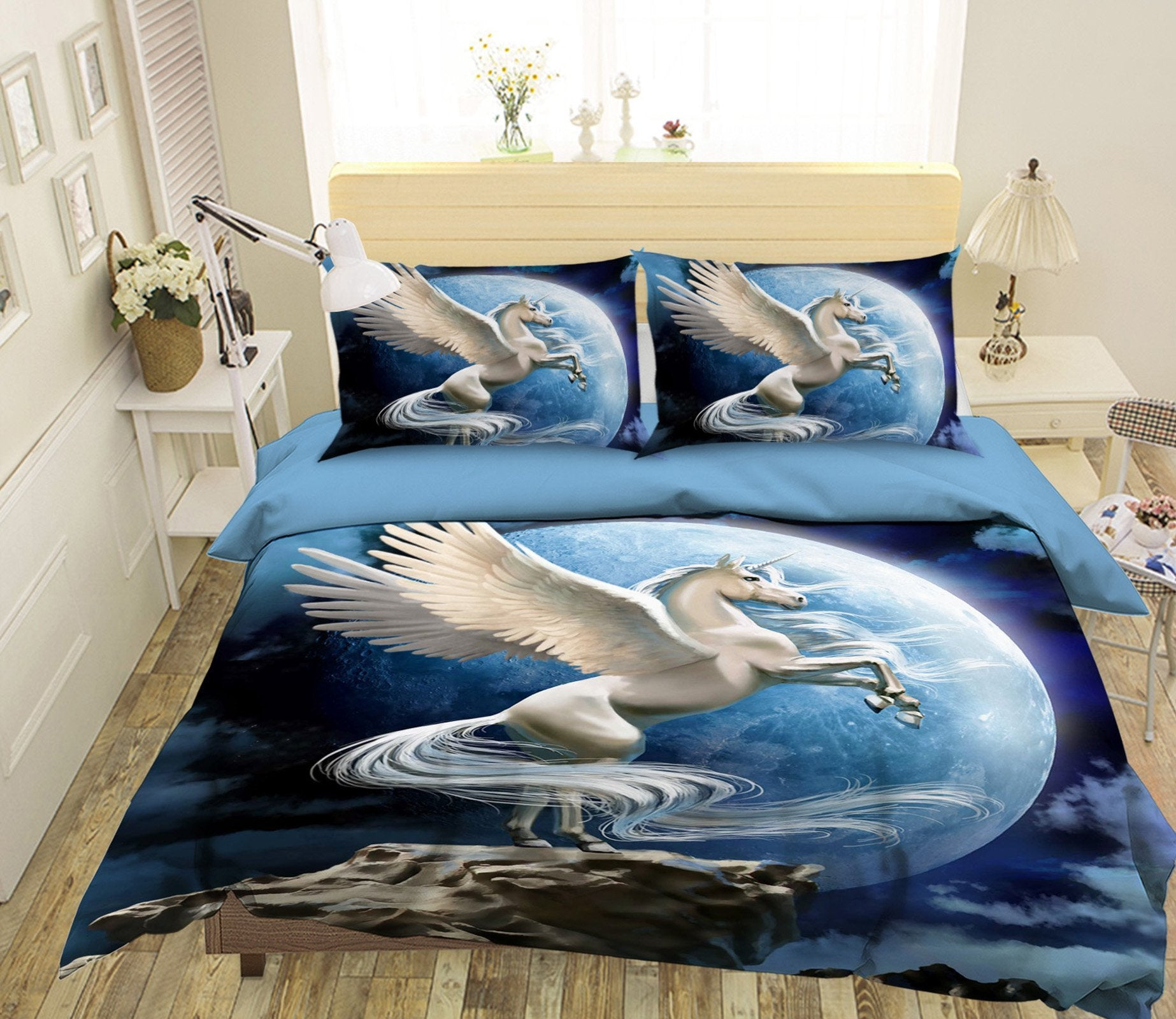 3D Round Moon Unicorn 046 Bed Pillowcases Quilt Wallpaper AJ Wallpaper