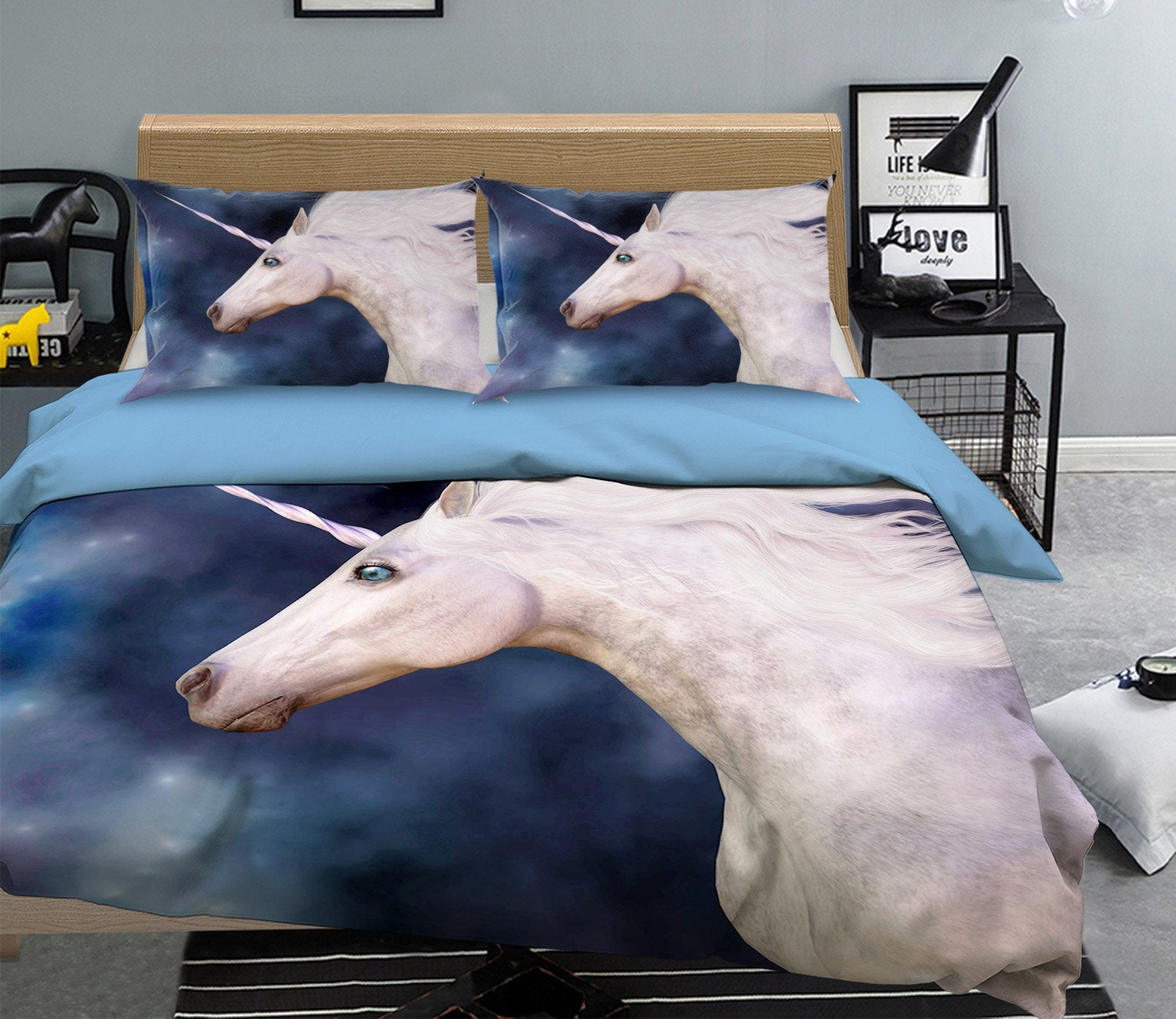 3D Star Half Body Unicorn 045 Bed Pillowcases Quilt Wallpaper AJ Wallpaper