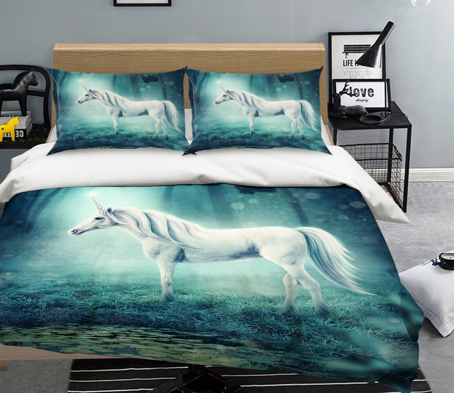 3D Shore Unicorn 048 Bed Pillowcases Quilt Wallpaper AJ Wallpaper