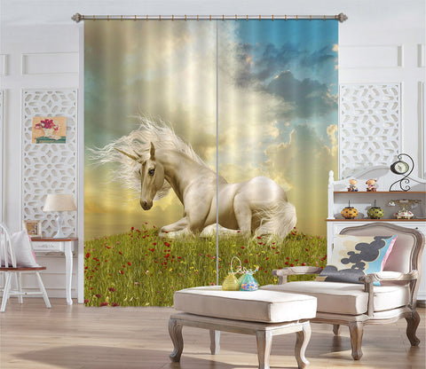 3D Red Flower Rest Unicorns 119 Curtains Drapes Curtains AJ Creativity Home