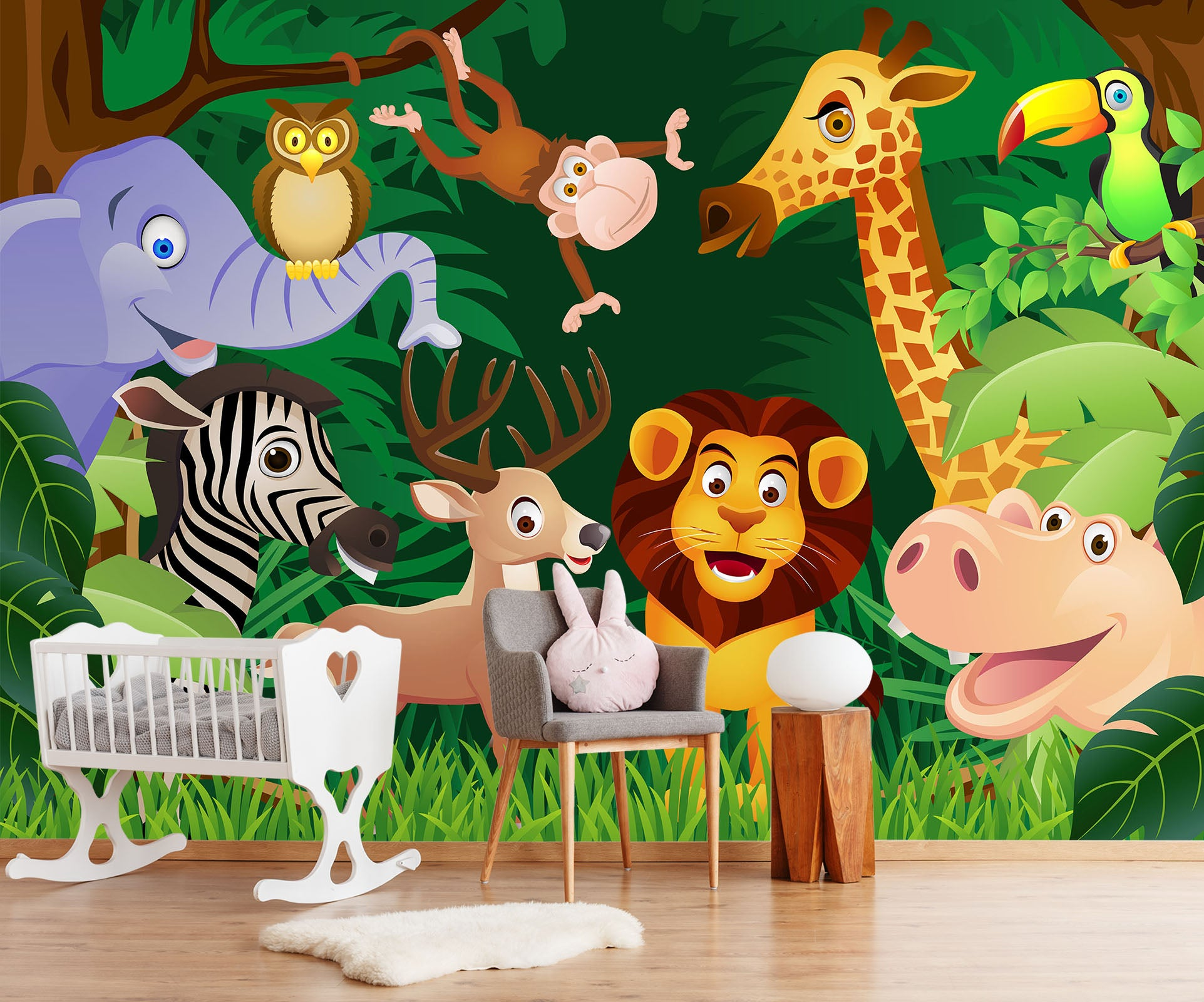 3D Cartoon Animals 052 Wall Murals