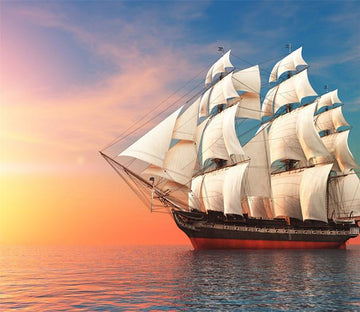 3D Sun-glow Sailing Boat 238 Wallpaper AJ Wallpaper