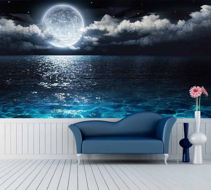 3D Moon Night Ocean 273 Wallpaper AJ Wallpaper