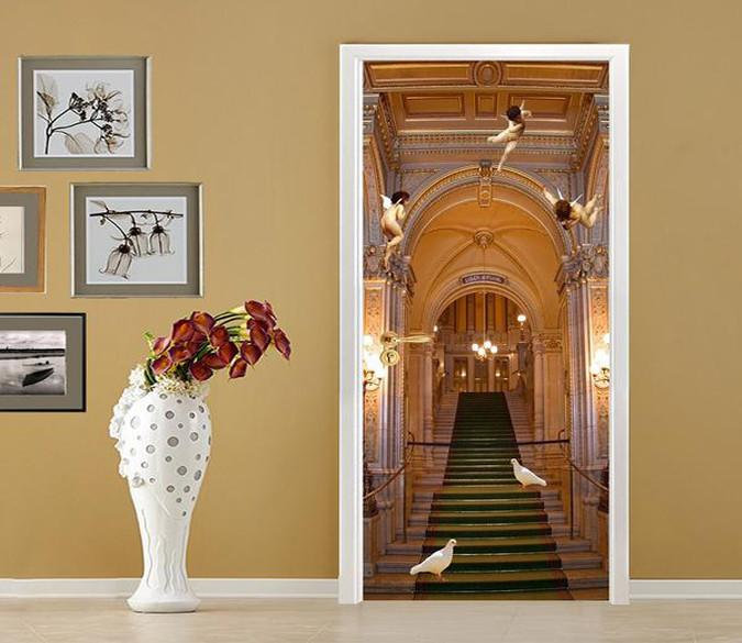 3D stairway angels doves door mural Wallpaper AJ Wallpaper