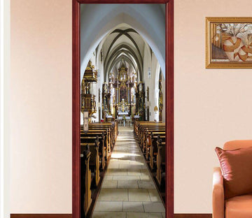 3D bench church auditorium door mural Wallpaper AJ Wallpaper