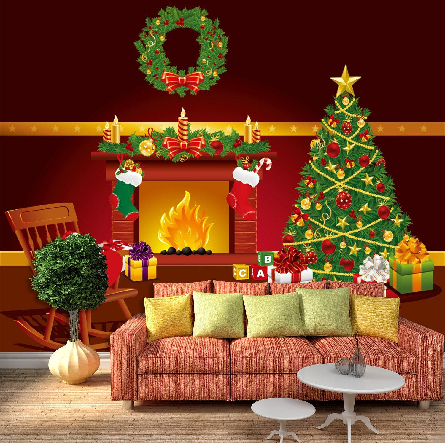 3D Christmas Tree And Sock Gifts 565