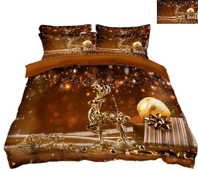 3D Christmas Golden Deer 53 Bed Pillowcases Quilt Quiet Covers AJ Creativity Home