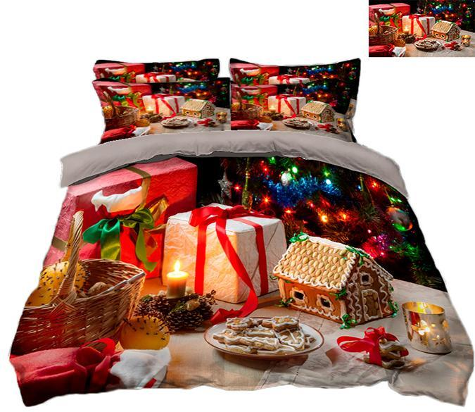 3D Christmas Dessert 55 Bed Pillowcases Quilt Quiet Covers AJ Creativity Home