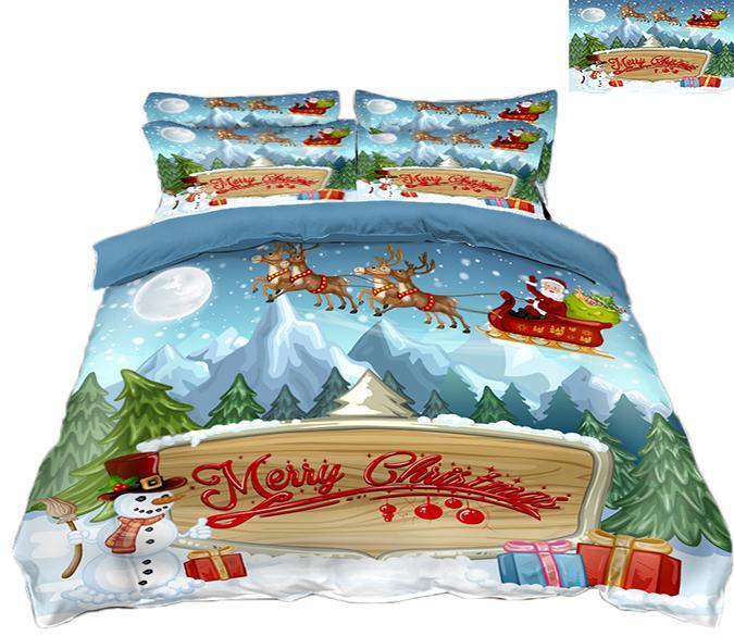 3D Christmas Snow Mountain 61 Bed Pillowcases Quilt Quiet Covers AJ Creativity Home