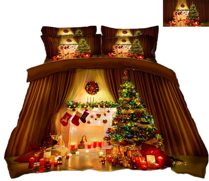 3D Christmas Romantic Candlelight 66 Bed Pillowcases Quilt Quiet Covers AJ Creativity Home