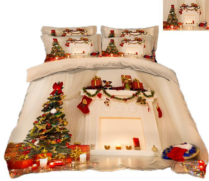 3D Christmas Full House Gift 67 Bed Pillowcases Quilt Quiet Covers AJ Creativity Home