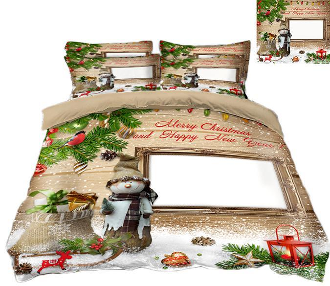 3D Christmas Snow Doll 71 Bed Pillowcases Quilt Quiet Covers AJ Creativity Home