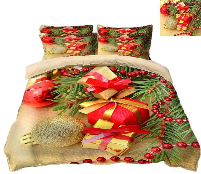 3D Christmas Red Beads Gift Box 79 Bed Pillowcases Quilt Quiet Covers AJ Creativity Home