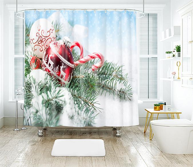 3D Christmas Candy Cane 31 Shower Curtain