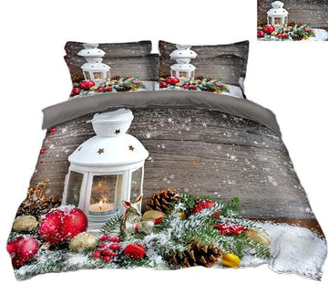 3D Christmas Candlelight Golden Deer 83 Bed Pillowcases Quilt Quiet Covers AJ Creativity Home