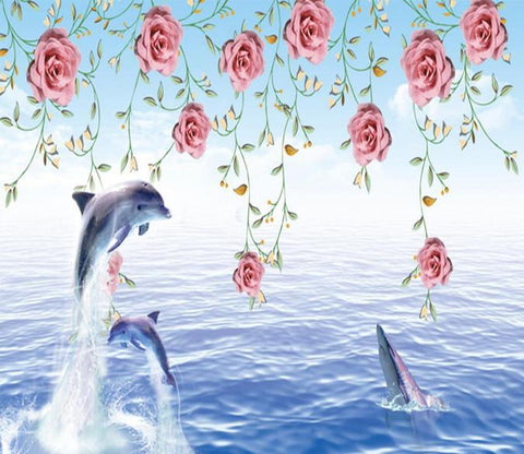 3D Rose Branch Dolphin 9 Wallpaper AJ Wallpaper