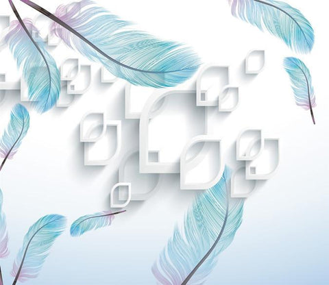 3D Blue Feather 831