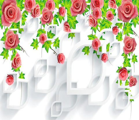 3D Branch Flower Rose 021 Wallpaper AJ Wallpaper