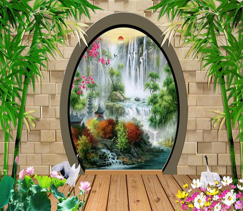 3D Bamboo Waterfall 576 Wallpaper AJ Wallpaper