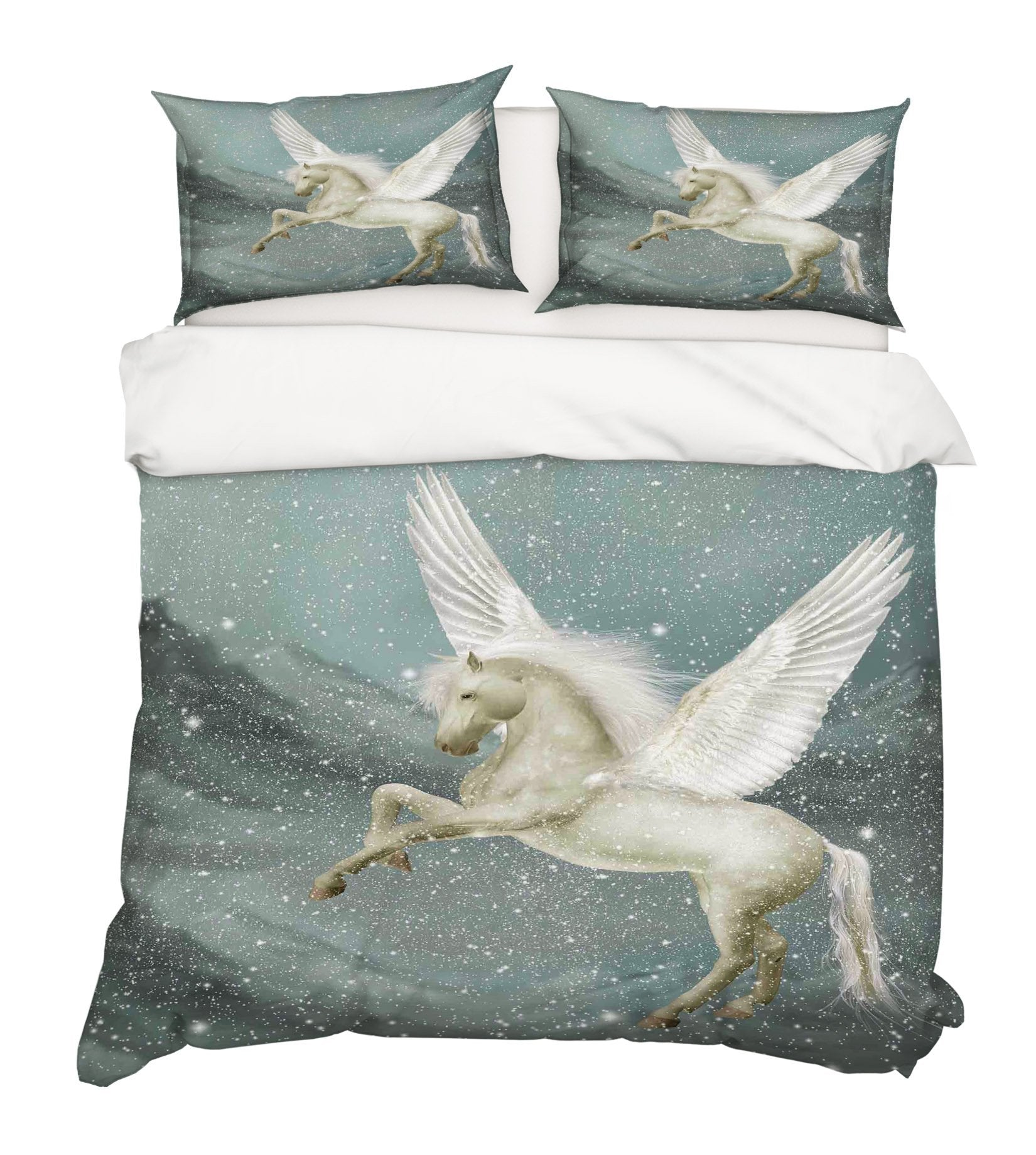 3D Pegasus Snow 014 Bed Pillowcases Quilt Wallpaper AJ Wallpaper