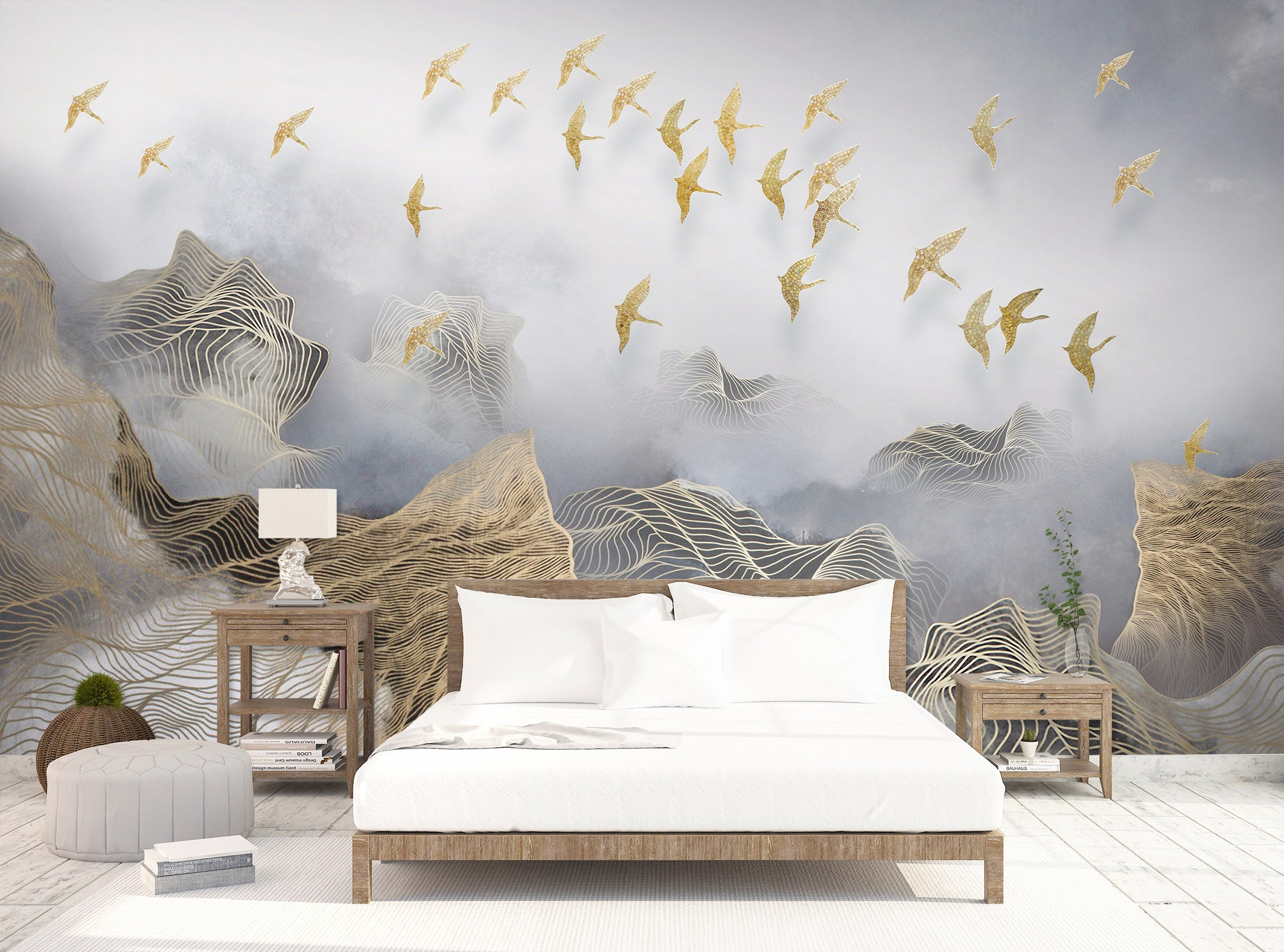 3D Golden Bird 1432 Wall Murals