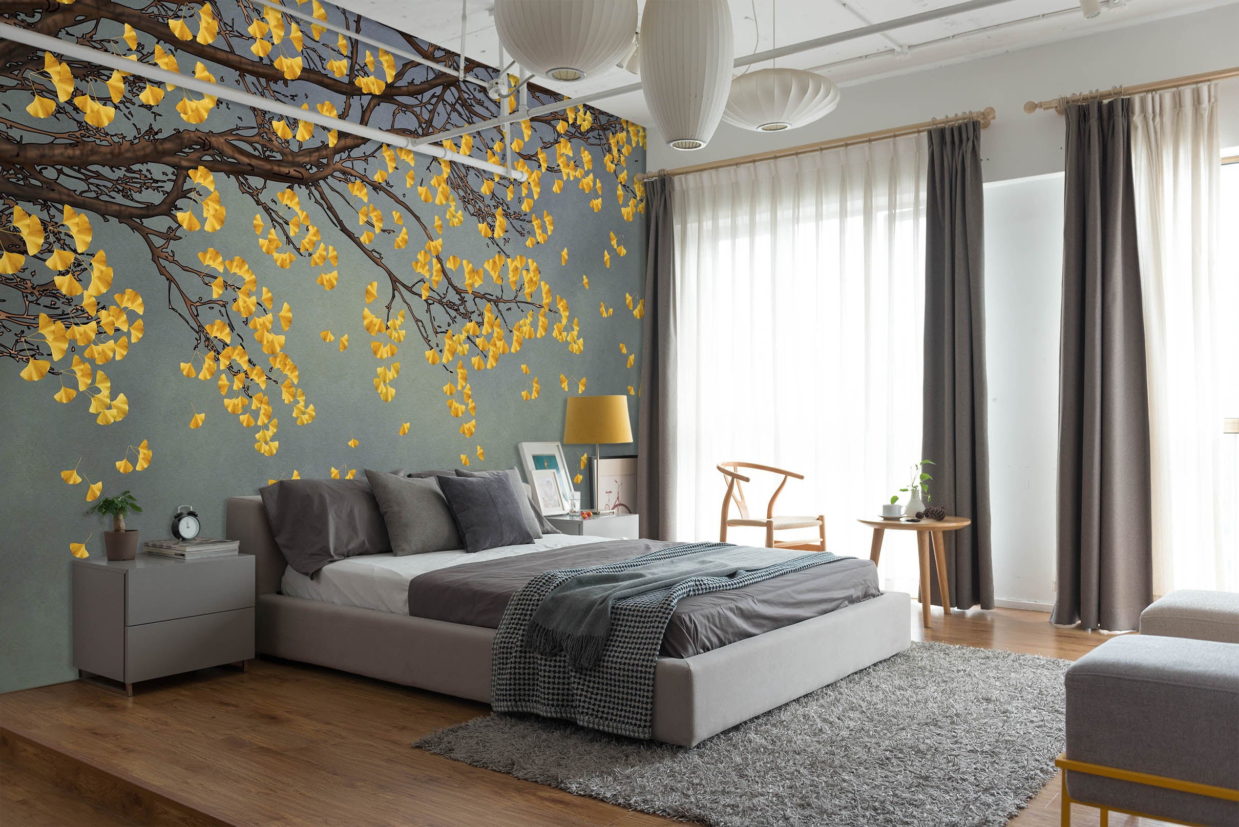 3D Golden Leaves 1456 Wall Murals